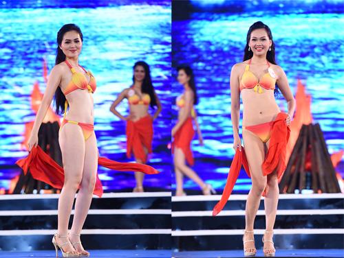 Trần Thị Thu Hiền (trái) sinh năm 1996, đến từ Lâm Đồng, cao 1,68 m, nặng 52 kg, ba vòng 86-62-96 cm. Trong khi đó, Nguyễn Hương Mỹ Linh sinh năm 1997, đến từ Hà Nội, nặng 56 kg, cao 1,75 m, ba vòng 85-63-94 cm.