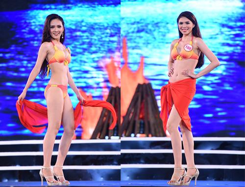 Trần Tố Như (trái) đến từ Thái Nguyên, sinh năm 1997 với chiều cao 1,72 m, nặng 54 kg cùng số đo 83-62-94 cm. Nguyễn Cát Nhiên sinh năm 1995, quê ở Đồng Nai, nặng 49 kg, cao 1,72 m và sở hữu ba vòng 82-62-90 cm.