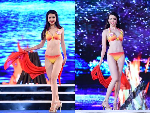Nguyễn Thị Ngọc Vân (trái) đến từ  Hải Phòng, sinh năm 1994. Cô sở hữu chiều cao 1,69 m, nặng 50 kg, ba vòng 80-61-90 cm. Huỳnh Thúy Vi sinh năm 1993, quê ở Cần Thơ cao 1,65 m, nặng 46 kg và có số đo 79-60-88 cm.