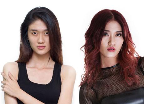 Gương mặt của Nguyễn Anh Thư vốn khá nhạt nhòa, đặc biệt là với kiểu tóc suôn thẳng. Vì thế các chuyên gia đã giúp cô nhuộm tông đỏ đồng để mặt sáng hơn.