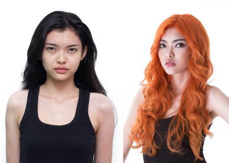 Nguyễn Thiếu Lan choáng váng vì lột xác từ cô nàng tóc đen sang một ''nàng tiên cá'' bốc lửa với tóc cam chói lọi.