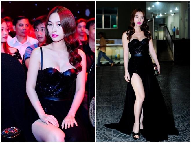 Người mẫu Quỳnh Thy nổi bật trên hàng ghế VIP chương trình Chinh phục đỉnh cao 2014 nhờ bộ váy tông đen gợi cảm của Lê Thanh Hòa. Cúp ngực ôm sát và đường xẻ cao vô cùng quyến rũ, tạo hình ảnh thu hút và lộng lẫy khi người đẹp đến cổ vũ các thí sinh trong đêm chung kết.
