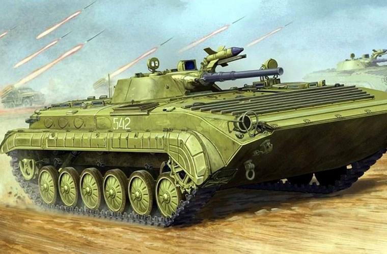Xe chiến đấu binh BMP-1 tiến công với sự yểm trợ từ pháo phản lực BM-21 Grad.
