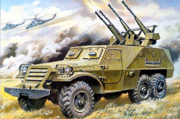 Pháo phòng không tự hành BTR-152A với pháo ZPU-4 14,5mm 4 nòng tấn công mục tiêu trên không, trên trời các trực thăng Mi-24 yểm trợ cho BTR chống lại hỏa lực tăng đối phương.