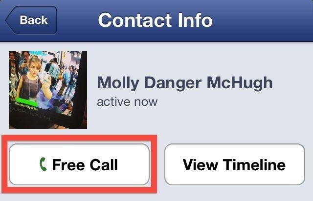 Giao diện gọi điện miễn phí trên Facebook Messenger của người dùng Mỹ