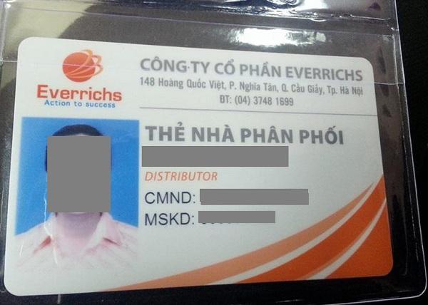 Tấm thẻ mà ông Thanh nói rằng đã thay đổi hoàn toàn cuộc đời những người tham gia hệ thống đa cấp của Everrichs