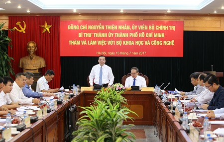 Bí thư Thành ủy TP. Hồ Chí Minh Nguyễn Thiện nhân đến thăm và làm việc với Bộ KH&CN - ảnh 3