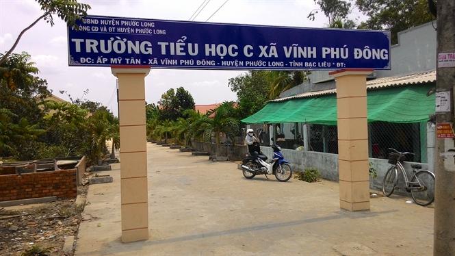 Trường Tiểu học C xã Vĩnh Phú Đông nơi xảy ra vụ việc