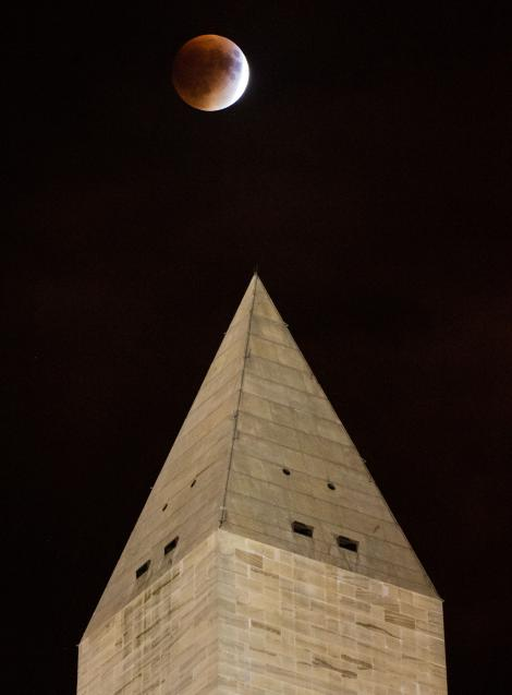Bức ảnh ghi lại khoảnh khắc siêu Mặt Trăng máu xuất hiện phía trên Đài tưởng niệm Washington. Đây là hiện tượng thiên văn hiếm có khi nguyệt thực toàn phần và siêu trăng (Mặt Trăng đạt khoảng cách gần Trái Đất nhất) diễn ra đồng thời. Ảnh Aubrey Gemignani, NASA