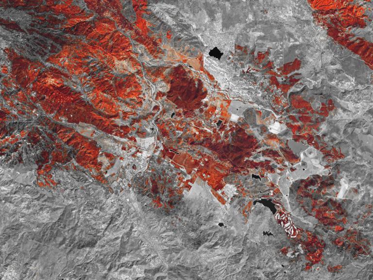 Hình ảnh về đợt cháy rừng tại California, phần có màu đỏ hoặc cam là vùng rừng bị cháy, phần màu bạc là vùng chưa bị lửa tấn công, còn các tòa nhà là phần màu trắng. Ảnh NASA Earth Observatory