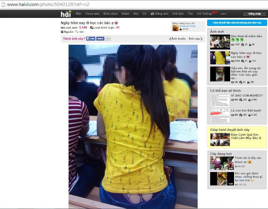 Đây là một kiểu 'dìm hàng' chị em phụ nữ thường thấy trên Haivl.com. Chỉ vì một chút sơ suất trong cách ăn mặc, cô gái này đã phải chịu muôn vàn lời trêu chọc từ các thành viên trên Haivl. com
