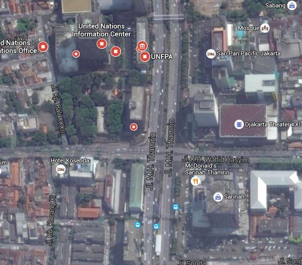 Bản đồ các vụ nổ tại trung tâm Jakarta.