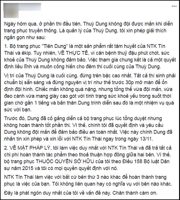 Không chịu đội mấn khi thi quốc phục, Thùy Dung bị chỉ trích coi thường nhà thiết kế