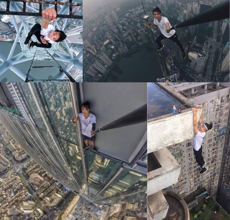 Rợn người loạt ảnh liều lĩnh trước khi rơi từ tầng 62 của nam diễn viên Ngô Vịnh Ninh