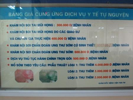 Viện phí khu vực khám chữa bệnh tự nguyện bệnh viện Tai Mũi Họng Trung ương. Ảnh: HT