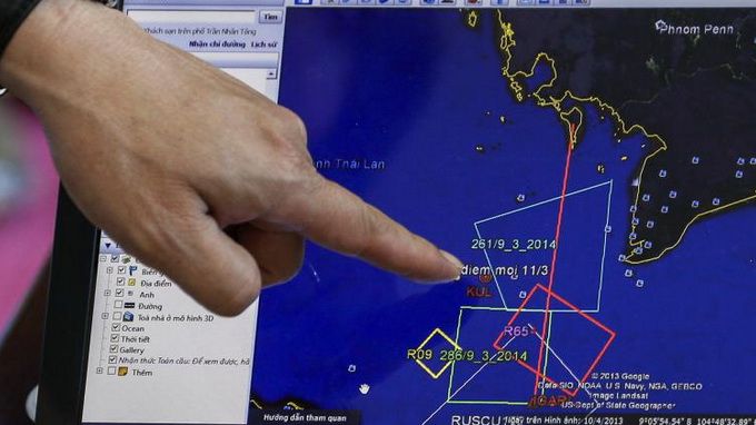 Bản đồ đường bay của chiếc MH370 trên màn hình máy tính tại sân bay Phú Quốc trước khi công tác tìm kiếm được triển khai - Ảnh: Reuters