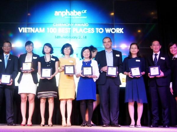 Tốp các công ty được bình chọn là Nơi làm việc tốt nhất. (Ảnh: Hoàng Tấn/Vietnam+)