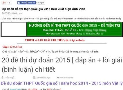 Không nên phân tâm với đề thi thử THPT Quốc gia 2015