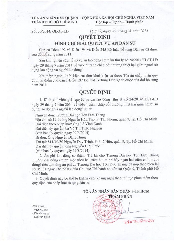 ĐH Tôn Đức Thắng kiện GS Nguyễn Đăng Hưng