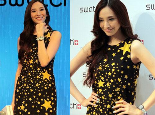 Chiếc váy suông kiểu dáng đơn giản của Bội Từ trở nên đặc biệt hơn nhờ những ngôi sao nhỏ.