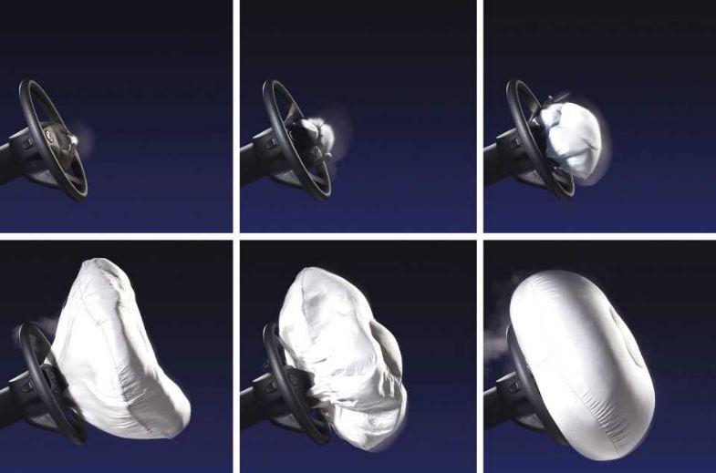 Túi khi được lắp đặt trong ô tô để giảm thiểu chấn thương ở vùng đầu, cổ, ngực và mặt của người lái khi xe bị va chạm từ phía trước.
