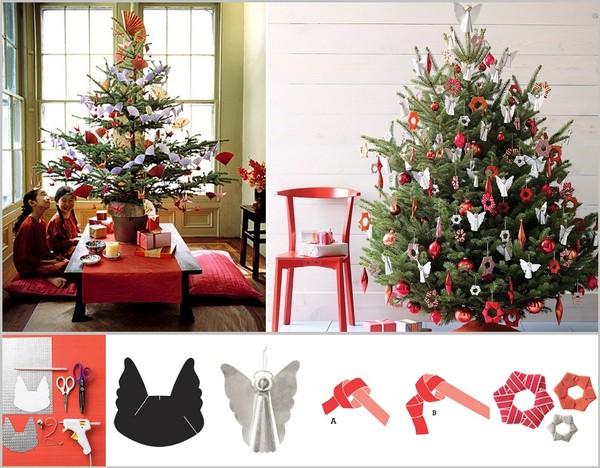Cách trang trí cây thông Noel kiểu Origami phù hợp với gia đình có trẻ em