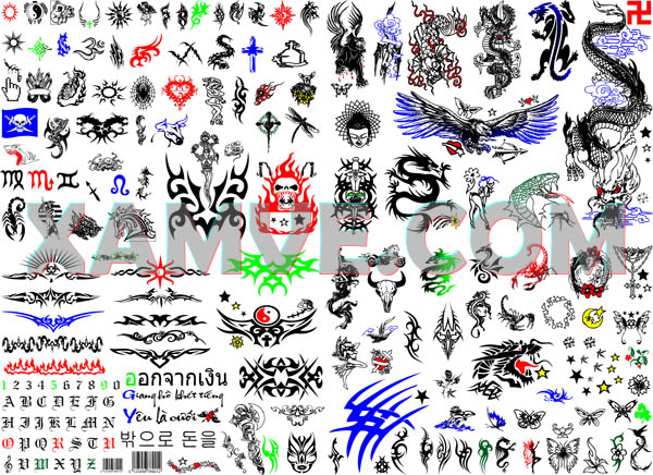 Một bảng hình xăm dán có rất nhiều hình, mỗi hình một màu khác nhau