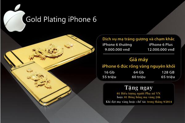 Hãng chuyên chế tác điện thoại và độ vàng cho siêu xe Royal Gold & Karalux cũng nhanh chóng giới thiệu bảng giá dịch vụ mạ vàng cho iPhone 6 và giá bán iPhone 6 đúc rồng vàng nguyên khối.