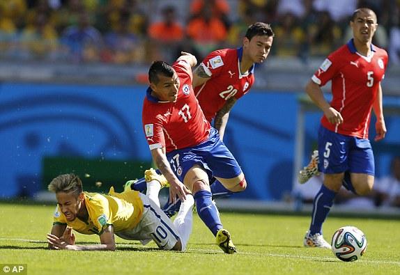 Neymar bị các cầu thủ Chile kèm chặt trong trận đấu Brazil gặp Chile tại World Cup 2014