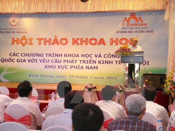Bộ trưởng Bộ Khoa học và công nghệ Nguyễn Quân phát biểu tại hội thảo. (Ảnh: Trường Giang/TTXVN)