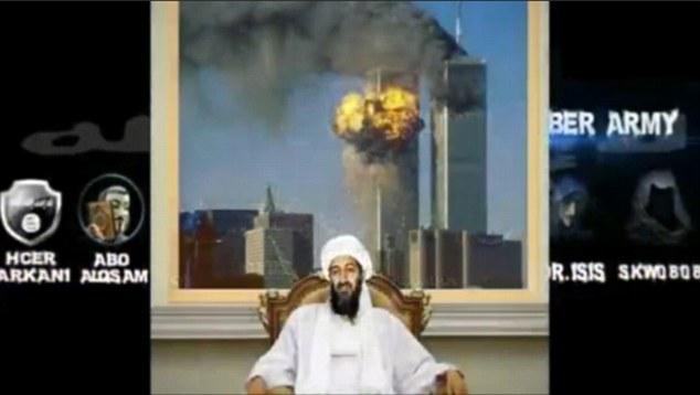 Một đoạn trong clip với hình ảnh Bin Laden ngồi trước tòa tháp đôi đang bốc cháy được khủng bố IS đăng tải