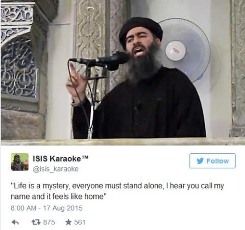 Bức hình chụp thủ lĩnh IS Abu Bakr al-Baghdadi kèm dòng chú thích châm biếm