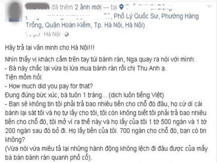 Một người Việt đã chia sẻ lại câu chuyện khách Tây bị chặt chém trên phố cổ lên mạng xã hội