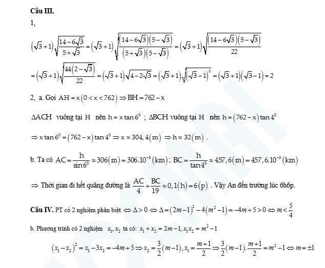 Gợi ý lời giải cho các bài toán của đề thi thử môn Toán vào lớp 10