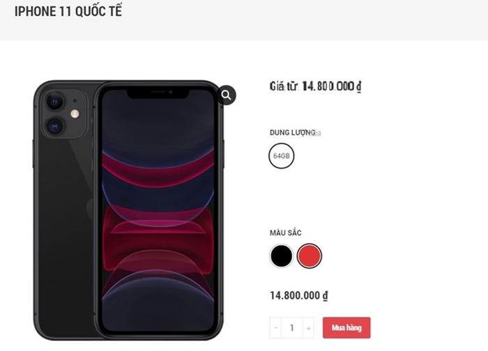 iPhone 11 bản 64 GB qua sử dụng được chào bán với mức giá 14,8 triệu đồng