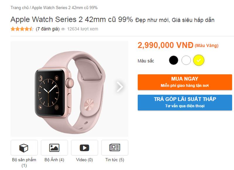 Apple Watch Series 2 giảm giá còn 2,9 triệu đồng