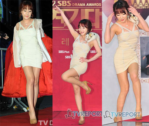 Nancy Lang thành trò lố tại 2012 SBS Drama Awards, với các chiêu õng ẹo trên thảm đỏ.