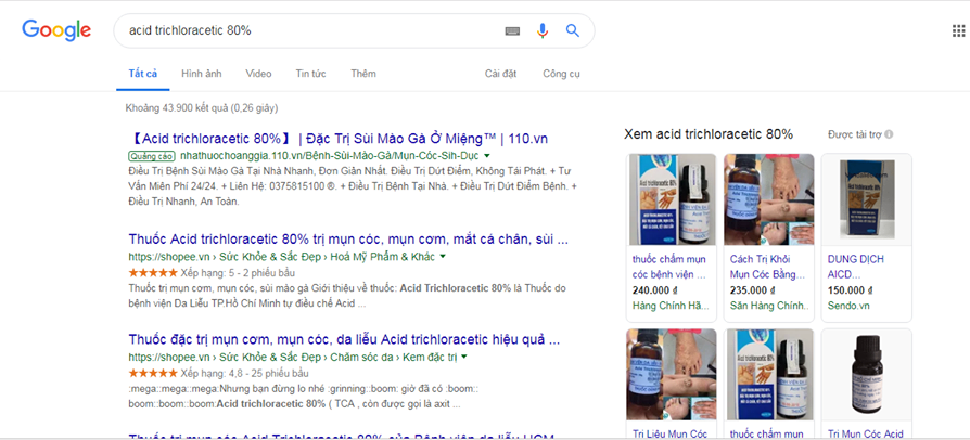 Acid trichloracetic 80% trị mụn cóc bán tràn lan: Cẩn thận kẻo 'rước họa vào thân'