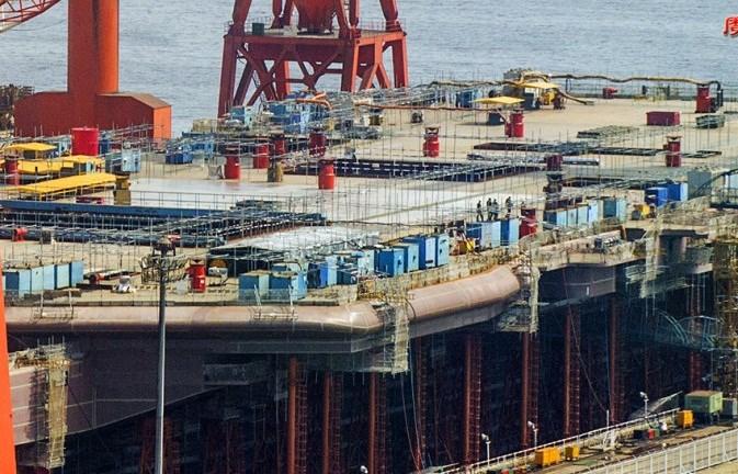 Dự kiến tàu sân bay sẽ được hạ thủy vao cuối năm nay.