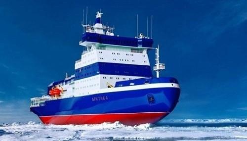 Hình ảnh con tàu phá băng lớn mạnh trên biển.