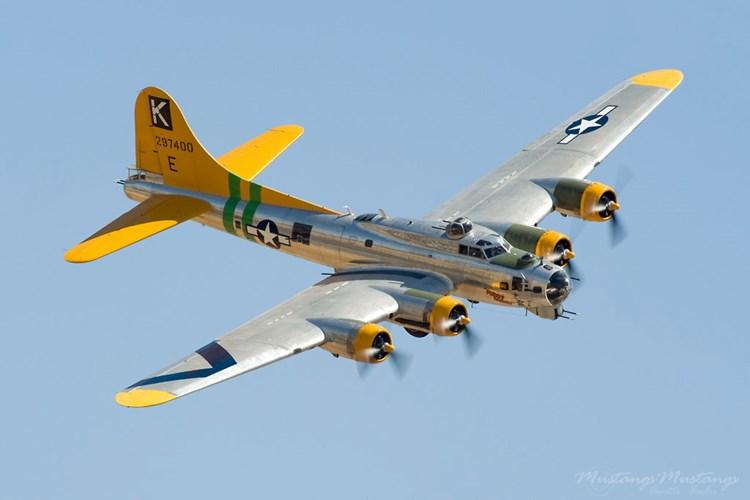 Máy bay ném bom B-17 có chiều dài 22,6m, sải cánh 31,6m, chiều cao 5,8m.  Ảnh: Kiến Thức
