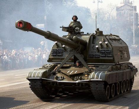 Pháo tự hành 2S19 Msta-S được thiết kế nhằm tiêu diệt các mục tiêu như trận địa pháo và cối, lực lượng tăng thiết giáp. Ảnh: Kiến Thức