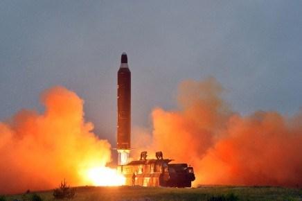 Tên lửa Musudan trong một lần phóng thử của Triều Tiên. Ảnh: Lao Động