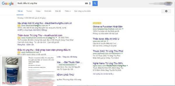 Chỉ cần gõ google người dùng có thể tìm thấy hàng loạt lời quảng cáo về thuốc điều trị ung thư. Ảnh minh họa