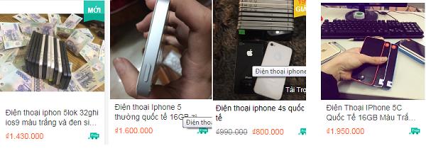 Giá bán điện thoại iPhone trên các trang mạng hiện nay với mức giá khá rẻ.