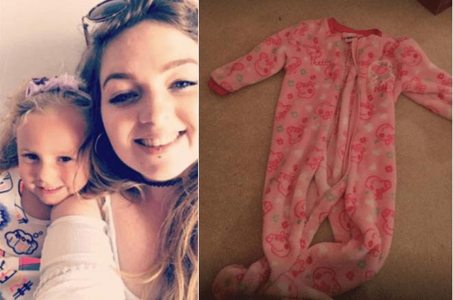 Chiếc áo liền quần suýt khiến con gái chị Katie tử vong.