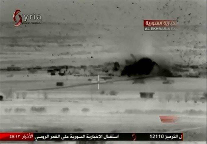 Pháo tự hành của Nga tại chiến trường Syria diệt phiến quân IS. Ảnh: ANTĐ