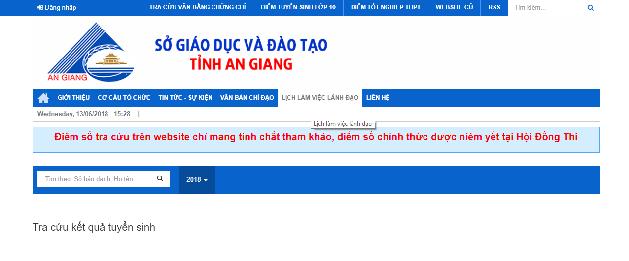Cách tra cứu điểm thi vào lớp 10 tại tỉnh An Giang. Ảnh: angiang.edu.vn