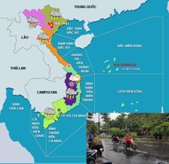Áp thấp nhiệt đới gây mưa lớn, ngập lụt khắp nơi.