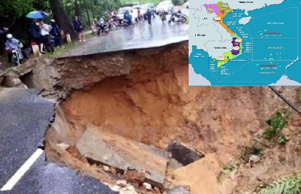 Do ảnh hưởng của rãnh áp thấp nên nhiều tỉnh thành có mưa lớn gây sạt lở đất nghiêm trọng.
